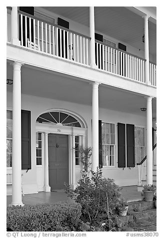 Facade of Griffith-McComas house. Natchez, Mississippi, USA (black and white)