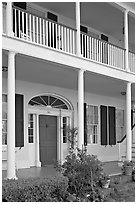 Facade of Griffith-McComas house. Natchez, Mississippi, USA ( black and white)