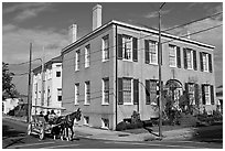 Horse carriage in the historic district. Natchez, Mississippi, USA ( black and white)