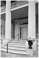 Entrance stairs, door, and columns, Magnolia Hall. Natchez, Mississippi, USA ( black and white)