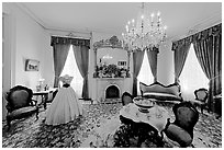 Living room in Rosalie house. Natchez, Mississippi, USA ( black and white)