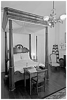 Bed in Rosalie house where General Grant slept. Natchez, Mississippi, USA ( black and white)