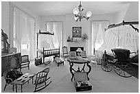 Children's room inside Rosalie. Natchez, Mississippi, USA ( black and white)