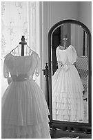 Dress and miror inside Rosalie. Natchez, Mississippi, USA ( black and white)