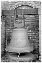 Bell from the USS Mississippi in Rosalie garden. Natchez, Mississippi, USA ( black and white)