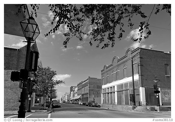 Street with old stores. Natchez, Mississippi, USA (black and white)