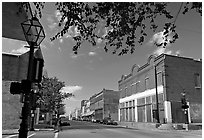 Street with old stores. Natchez, Mississippi, USA ( black and white)
