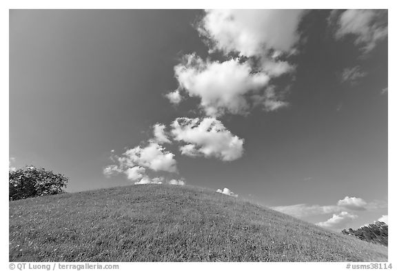 Mound and clouds. Natchez Trace Parkway, Mississippi, USA (black and white)