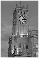 Art Deco clock tower at dusk. Jackson, Mississippi, USA (black and white)