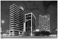 Downtown High rise buildings at night. Jackson, Mississippi, USA (black and white)