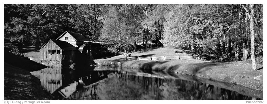 Mill and pond in autumn. Virginia, USA (black and white)