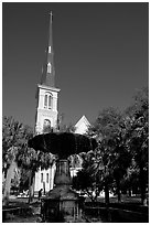 Fountain on Marion Square and church. Charleston, South Carolina, USA ( black and white)