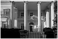 Greek revival facade with weathered  pilars. Charleston, South Carolina, USA ( black and white)