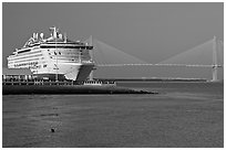 Cruise ship and suspension bridge of Cooper River. Charleston, South Carolina, USA ( black and white)