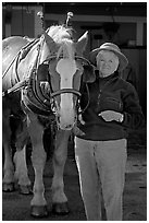 Woman and carriage horse. Beaufort, South Carolina, USA ( black and white)