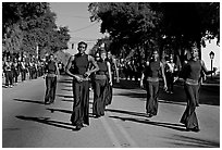 African American youngsters during parade. Beaufort, South Carolina, USA ( black and white)