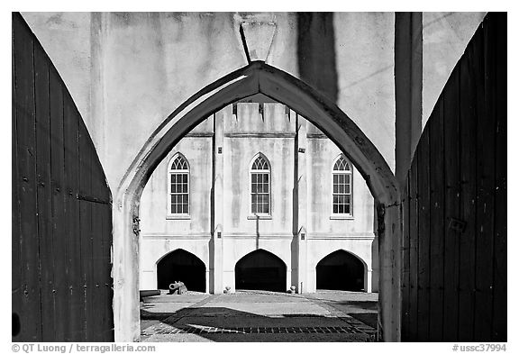 Entrance of historic Beaufort Arsenal. Beaufort, South Carolina, USA (black and white)