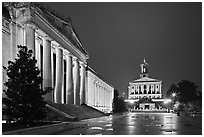 War Memorial and State Capitol by night. Nashville, Tennessee, USA (black and white)