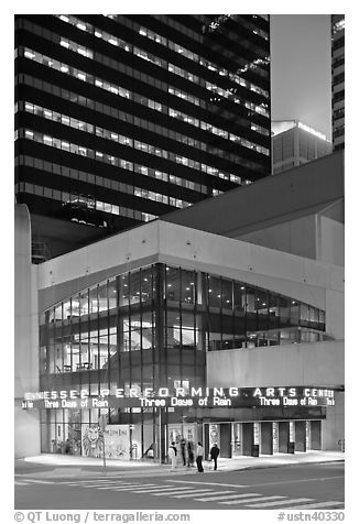 Tennessee Performing Arts Center and downtown buildings. Nashville, Tennessee, USA (black and white)