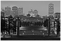 Night skyline with State Capitol from Bicentenial State Park. Nashville, Tennessee, USA (black and white)