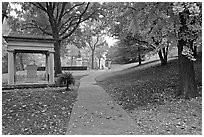 Path and memorial in gardens of state capitol. Nashville, Tennessee, USA (black and white)