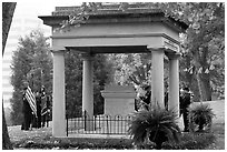 Memorial in gardens of state capitol. Nashville, Tennessee, USA (black and white)