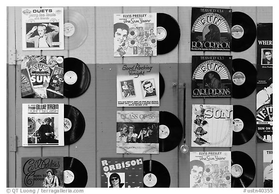 Historic vinyl records. Nashville, Tennessee, USA (black and white)