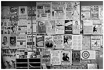 Posters on display, Hatch Show print. Nashville, Tennessee, USA (black and white)