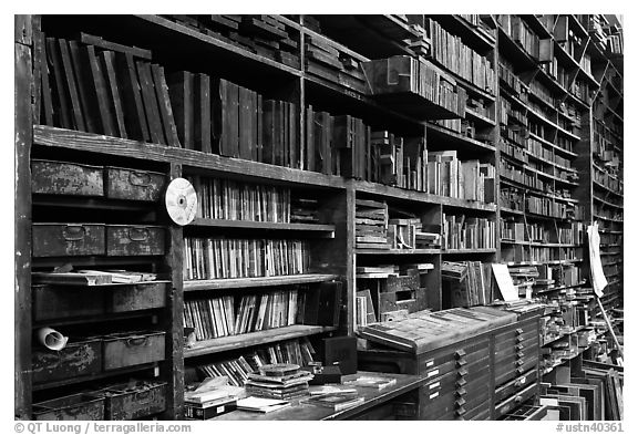 Black And White Picture Photo Bookshelves Hatch Show Print