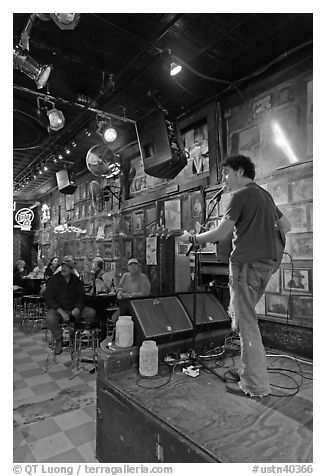 Singer performing in a music club. Nashville, Tennessee, USA (black and white)