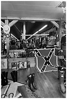 Boots and confederate flag in store. Nashville, Tennessee, USA ( black and white)