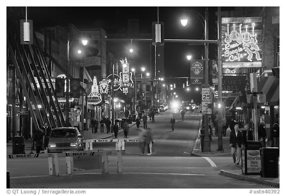Beale Street at night. Memphis, Tennessee, USA (black and white)