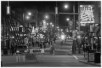 Beale Street at night. Memphis, Tennessee, USA ( black and white)