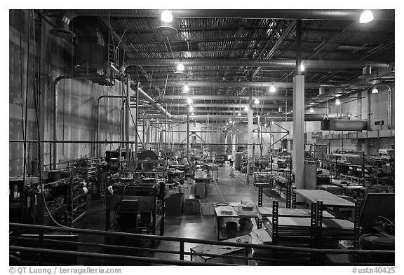 Black And White Picture Photo Inside Of Factory Room