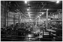 Inside of factory room. Memphis, Tennessee, USA (black and white)