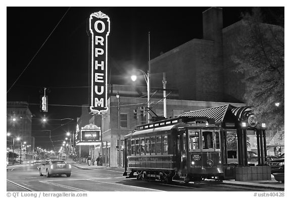 Street by night with trolley and Orpheum theater. Memphis, Tennessee, USA (black and white)