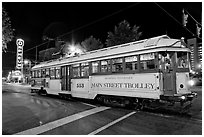 Main Street Trolley by night. Memphis, Tennessee, USA ( black and white)