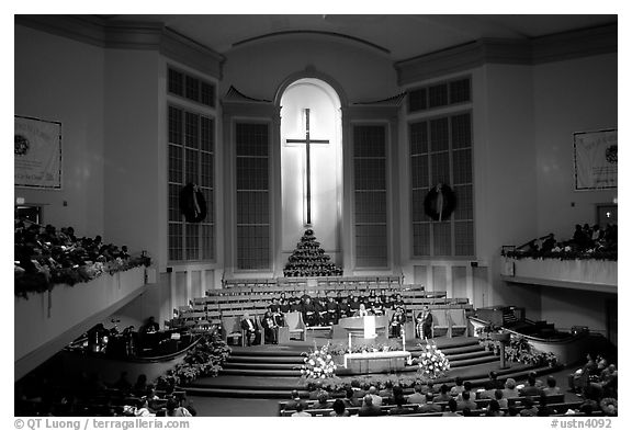 Gospel mass in Mississipi Boulevard Christian Church. Memphis, Tennessee, USA (black and white)