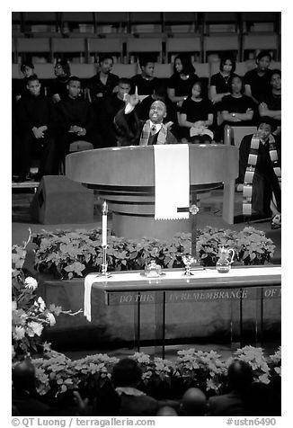Minister preaching during in Mississipi Boulevard Christian Church. Memphis, Tennessee, USA (black and white)