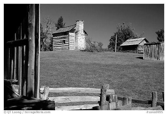 Cabins, Booker T. Washington National Monument. Virginia, USA (black and white)