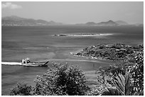 Car barge approaching harbor. Saint John, US Virgin Islands ( black and white)