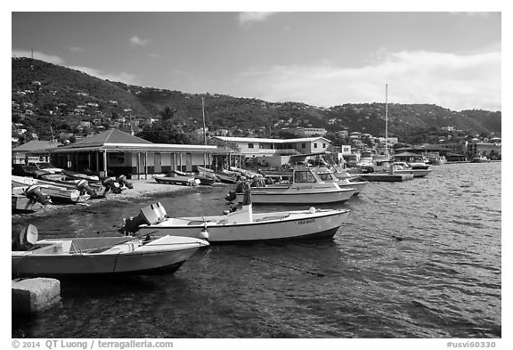 Fishing boats, Frenchtown harbor. Saint Thomas, US Virgin Islands (black and white)