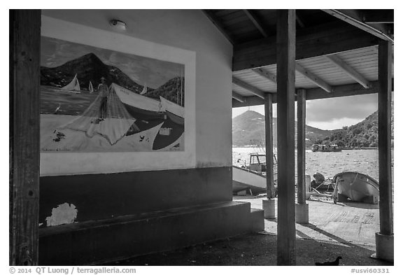 Mural decor and Hassel Island. Saint Thomas, US Virgin Islands (black and white)