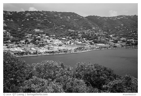 Charlotte Amalie seen from Hassel Island. Saint Thomas, US Virgin Islands (black and white)