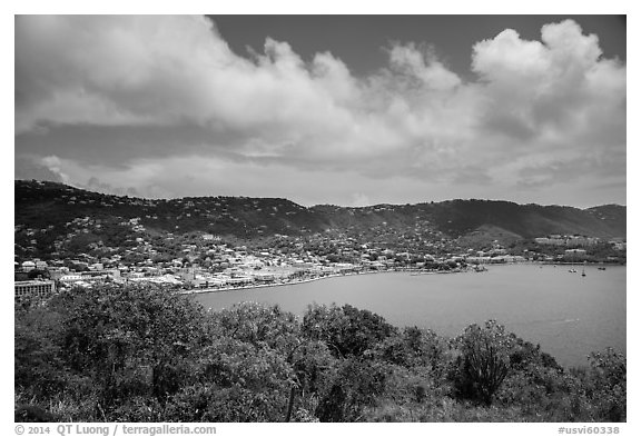 Charlotte Amalie harbor seen from Hassel Island. Saint Thomas, US Virgin Islands (black and white)
