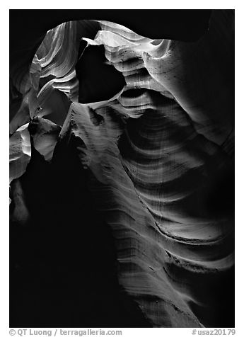 Slot canyon walls, Upper Antelope Canyon. Arizona, USA (black and white)