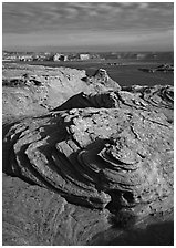 Rock Swirls and Lake Powell, Glen Canyon National Recreation Area, Arizona. USA ( black and white)