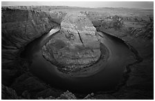 Horseshoe Bend of the Colorado River near Page. Arizona, USA ( black and white)