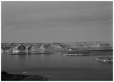 Lake Powell, blue hour, Glen Canyon National Recreation Area, Arizona. USA ( black and white)