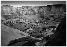 Canyon at dusk. Canyon de Chelly  National Monument, Arizona, USA ( black and white)